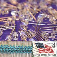 100x Purple 5mm Flat Top LEDs Wide Angle Light 12v Resistor Kit USA