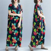 Retro Women Oversized Dress flowers Print Batwing Sleeve V-Neck Loose Long Dress