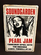PEARL JAM SOUNDGARDEN Concert Poster Vintage Style Small Metal Sign 20x30 Cm