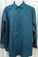 Alfani Mens Casual Shirt Sz XL Teal Feather Blue Business Button Front Shirt