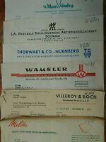 Konvolut alte Rechnung Villeroy Boch Wamsler Henkel Zwillings Melitta u.a. 1958