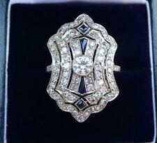 Fabulous 18ct white gold art deco Sapphire and 2ct Diamond cluster ring