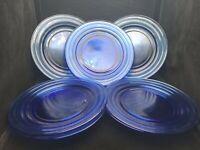 "Set of 8 Vintage Hazel Atlas Cobalt Blue Glass Moderntone Pattern 9"" Plates"