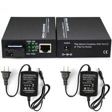1Pair 10/100M light RJ45 Ethernet to Fiber Optic Media Converter Singlemode 25KM