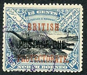 North Borneo SGD46 12c Black and Dull Blue Post Due used Cat 28 Pounds