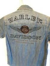 Harley Davidson 110th Denim Embroidered S/S Jean Button Up Shirt Size Small