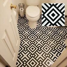 Vinyl Floor Tile Peel And Stick Decorative Ceramic Porcelain Black Bathroom 20pc