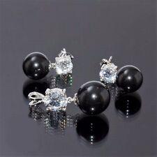 Perlen Set Ohrringe und Anhänger 925 Silber Zirkonia Muschelkernperlen Schwarz