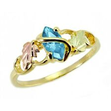 10K Black Hills Gold Ladies Ring with Blue Topaz Size 4 - 10