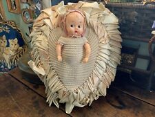 Vintage Hand Crocheted & Ribbon Work Bed Pillow with Plastic Sleepy Eye Doll