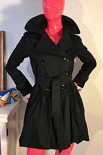 Dolce&Gabbana D&G Trench Chic Coat Ruffled like Bottom Belt Cotton Black Sz:40-M
