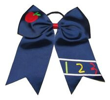 "NEW ""APPLE & 123"" School Cheer Bow Pony Tail 3 Inch Ribbon Girls Cheerleading"