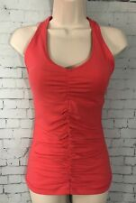 Lucy Ruched Tank Top Small Pink Built In Padded Bra Yoga Workout Gym Shirt