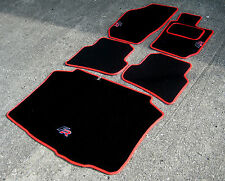 Black/Red Car Mats - Seat Ibiza 6J (2008-17) + FR Logos + Carpet Pad + Boot Mat
