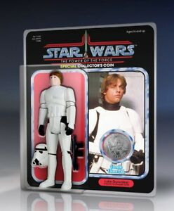 New Star Wars Luke Skywalker Stormtrooper Outfit Jumbo Figure with Coin Display