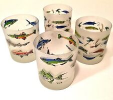Set of 4 Frosted Highball Glasses Fishing Fish Lures Made in France Multi Colors