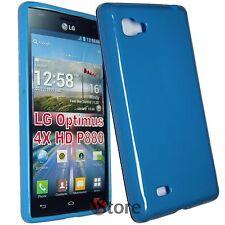 Cover Custodia Per LG Optimus 4X HD P880 Azzurro Silicone Gel TPU + Pellicola