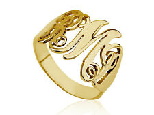 14k Solid Yellow Gold Custom-made Personalized Monogram Ring Amazing Gift
