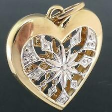 Floral Pierced 9k Solid YELLOW WHITE GOLD LOVE HEART PENDANT
