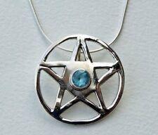TOPAZE BLEUE Pentacle Pentagramme Collier, 925 argent, chaîne serpent, pagan, Wiccan