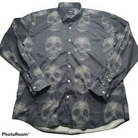 Maceoo Mens Long Sleeve Button Down Shirt Fibonacci Circle Skull All Over Print