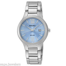Women's Seiko Core Light Blue Dial Stainless Steel Analog Solar Watch SUT209