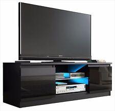 TV Cabinet BLACK GLOSS Door Unit Entertainment Stand Glass Shelf LED Light 120cm