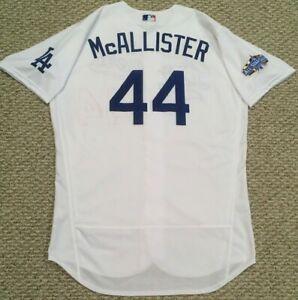 McALLISTER size 48 #44 2020 LA Dodgers home jersey used ALL STAR PATCH MLB HOLO