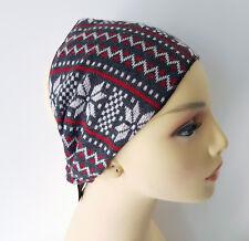 Grey & red snowflake print elasticated fabric unisex  headband - headwrap
