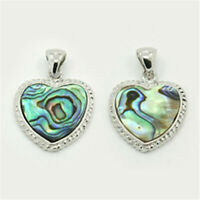 1 pc Heart Abalone Colorful Paua Shell Pendants with Brass Findings 24x21x3mm