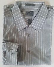 Arrow  Mens Long Sleeve Shirt Gray & White Strips Size 17 1/2