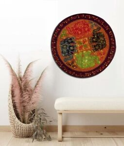"""32"""" BROWN ELEPHANT HAND EMBROIDERED WALL DÉCOR HANGING TAPESTRY THROW RUNNER"""