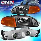 For 1992-1995 Honda Civic Black Housing Amber Corner Headlightdriving Fog Lamps