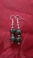 Shamballa effect bead, black, tibetan beads x 3. silver plated, hook (259)