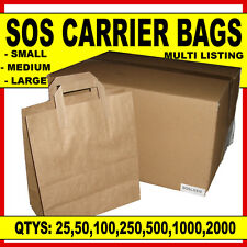 More details for brown paper sos carrier bags take away handles *all 3 sizes- small,medium,large*