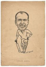 Cricket England Leslie Ames c.1940s-50s sketch by cartoonist R Booch India Ӝ