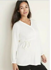 New Old Navy Maternity Solid Satin Trim Ivory Tie Front Top Size Medium