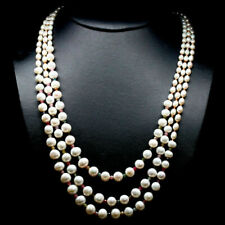 Natural White PEARL, TOURMALINE & GARNET Sterling 925 Long 3 Strand Necklace