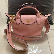 2020 Longchamp Le Pliage Cuir Leder Damentasche Schultertasche Handtasche Pink