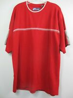 Point Zero Women's Size XL Cotton Red Solid Short Sleeve Thermal Knit Shirt