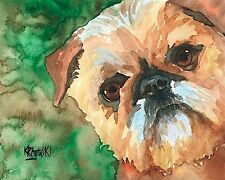 Brussels Griffon Dog 11x14 signed art Print painting Rjk