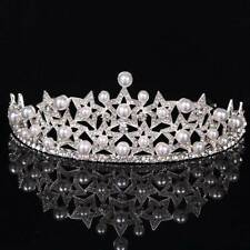 Silver Crystal Rhinestones Pearl Star Bridal Crown Tiara Wedding Hair Headdress