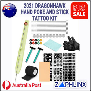 Dragonhawk Hand Poke and Stick Tattoo Kit - Clean Safe Poke Tattoos
