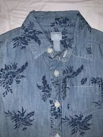 Baby GAP Size 18-24 Months Boys Lightweight Denim Long Sleeve Button Up Shirt
