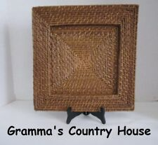 Large 13X13 Square With inset Woven Rattan Mat / Placemat / Home Decor Piece
