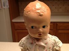"""Antique 1920's -1930's Rattle Head Composition Baby Doll W/ Nightgown 13"""""""