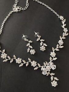 Fashion Women Rhinestone Crystal Earrings Necklace Wedding Rose Jewelry Set USA