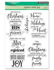 New Penny Black REJOICE WITH JOY Clear Stamp Verse Christmas Sentiment Family