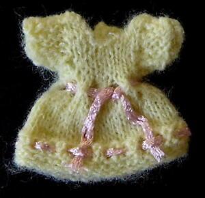 "Hand Knit SMK Miniature Doll House Lemon Dress 1:12 Scale fits 2"" Heidi Ott Doll"