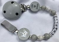 ♕ LITTLE PRINCE ♕ Personalised DUMMY CLIP Name upto Max 8 Letter ♕ GREY ♕